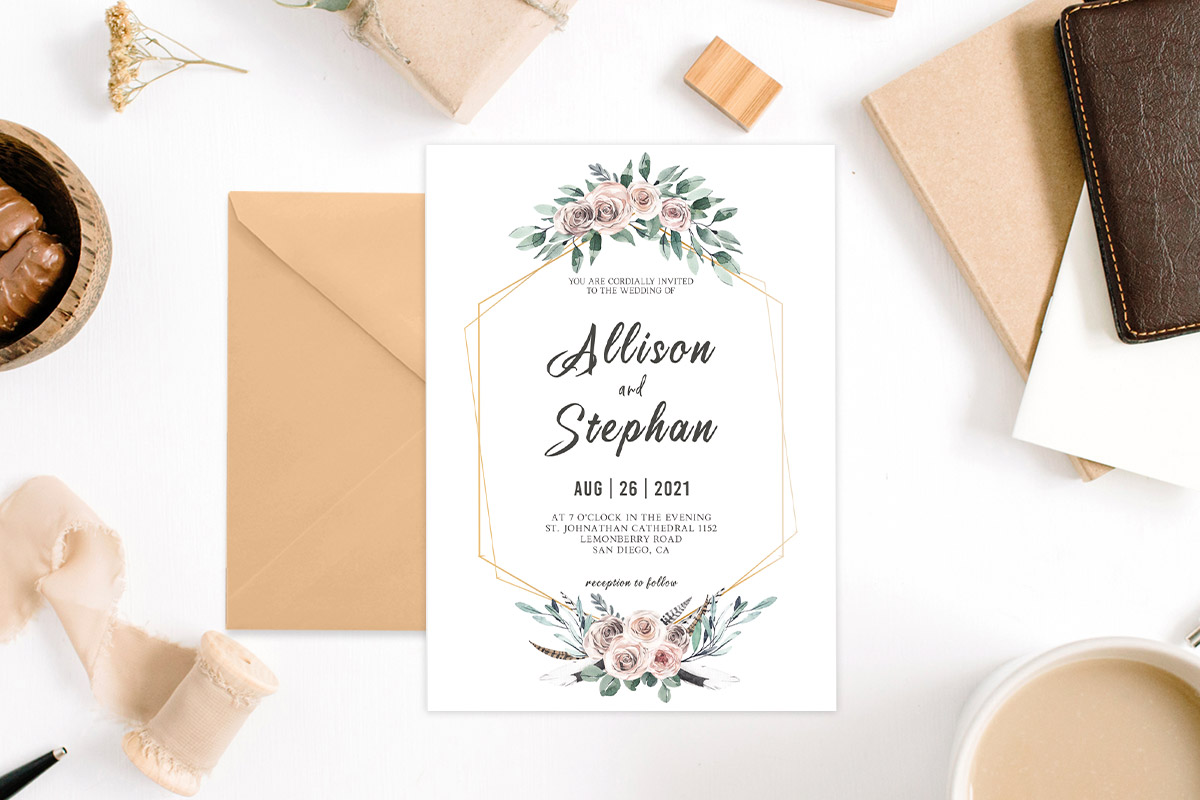 Free Floral Geometric Wedding Invitation Template