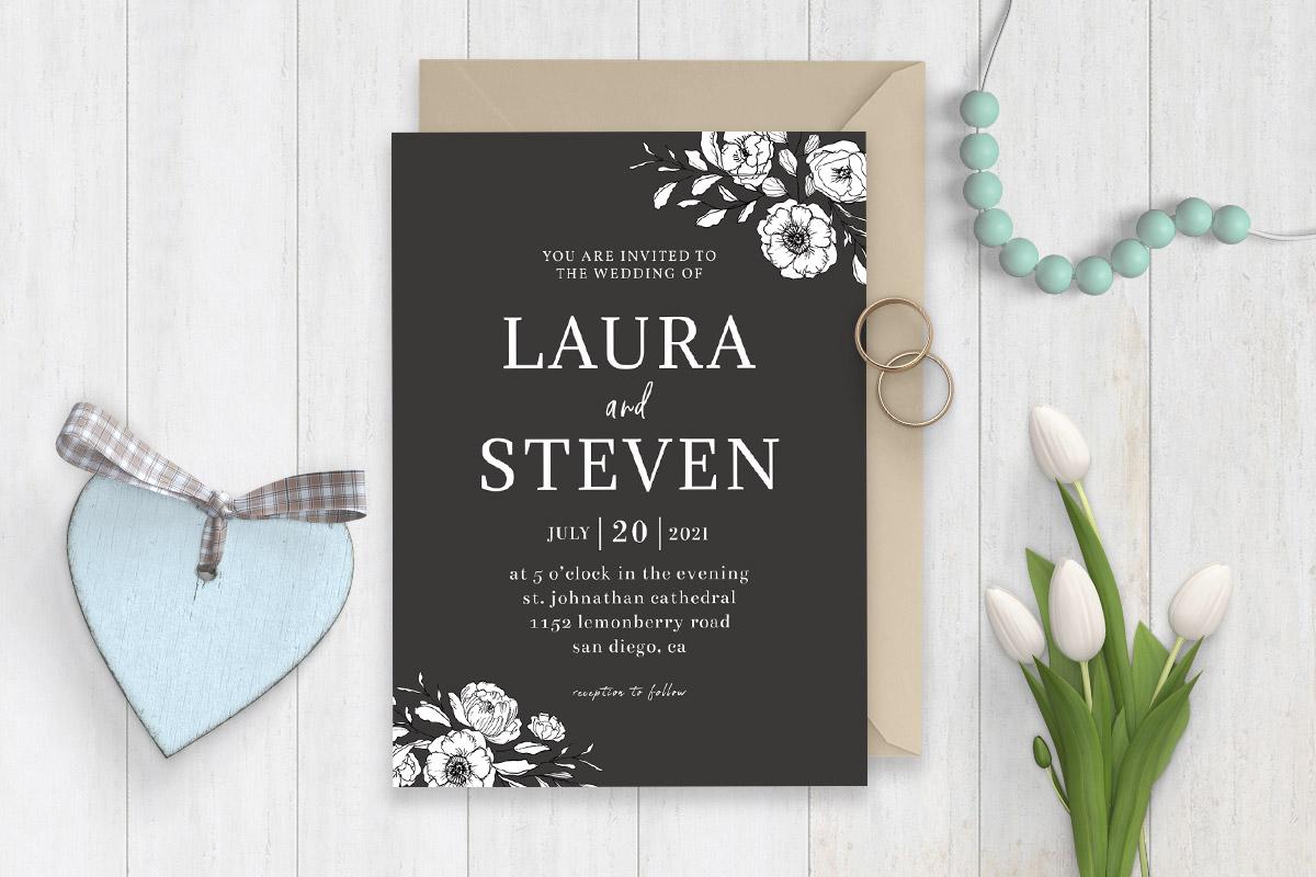 Free Minimal BW Wedding Invitation Template
