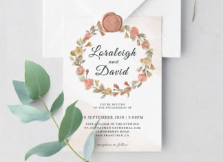 Free Modern Floral Wedding Invitation Template