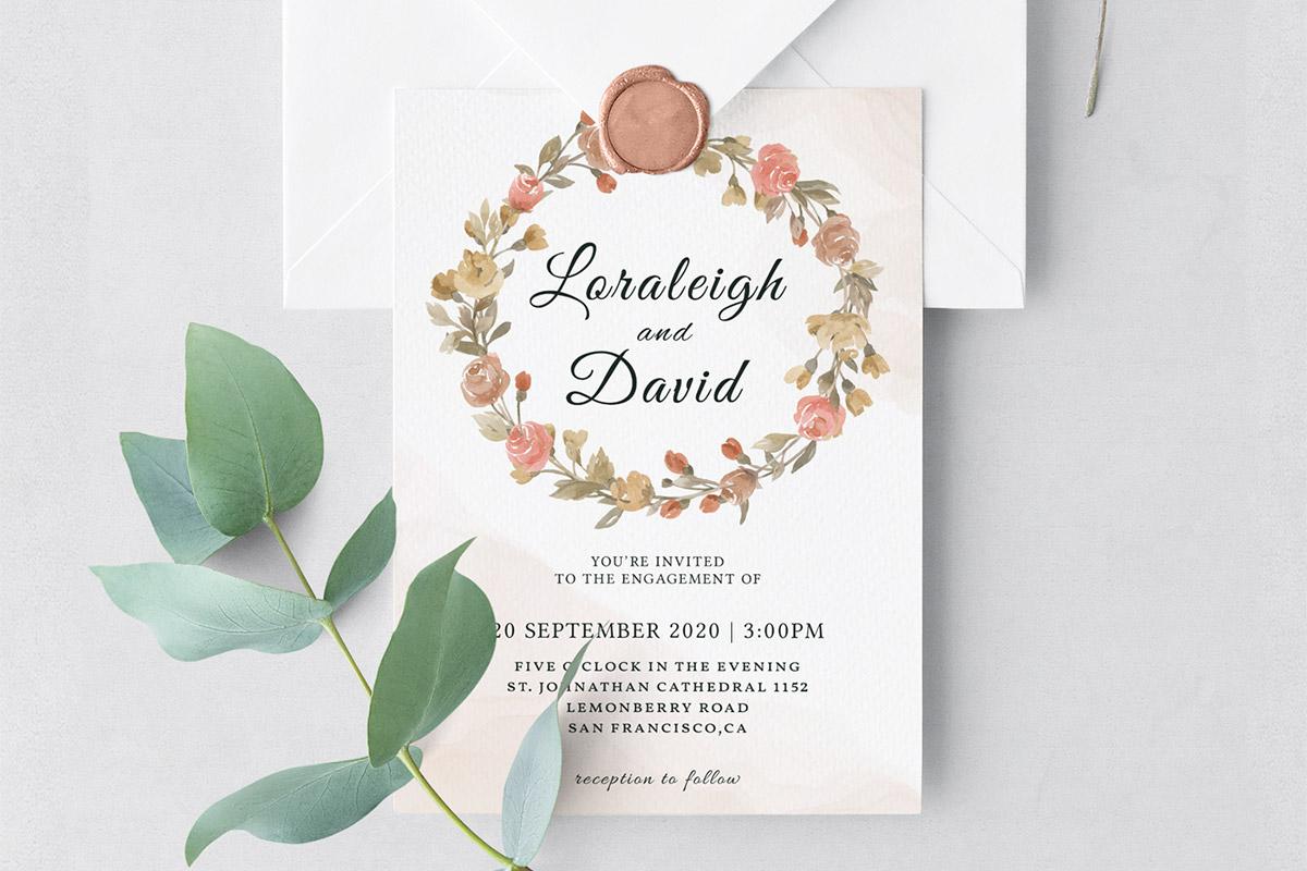 Free Modern Floral Wedding Invitation Template
