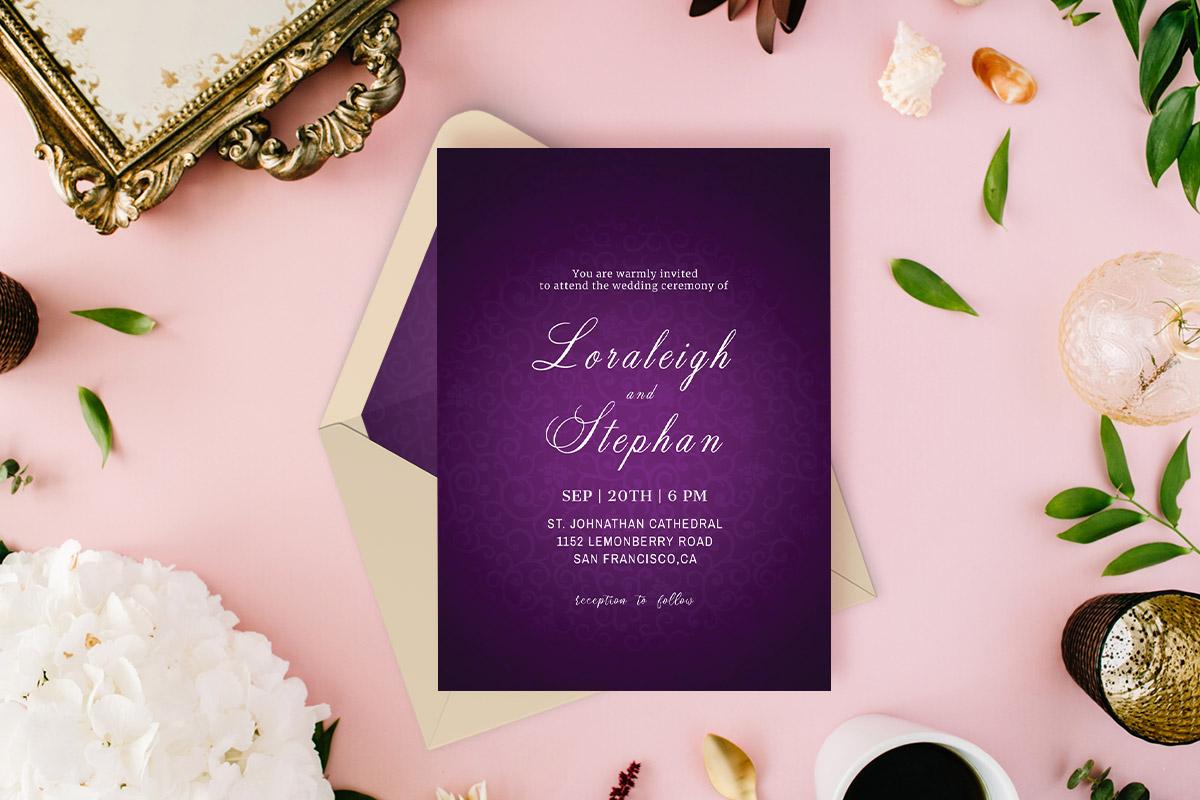 Free Royal Purple Wedding Invitation Template