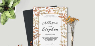 Free Autumn Wreath Wedding Invitation Template