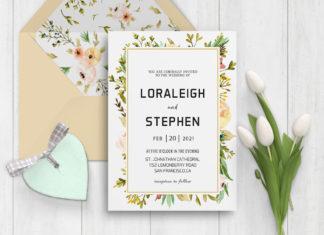 Free Beautiful Wreath Wedding Invitation Template