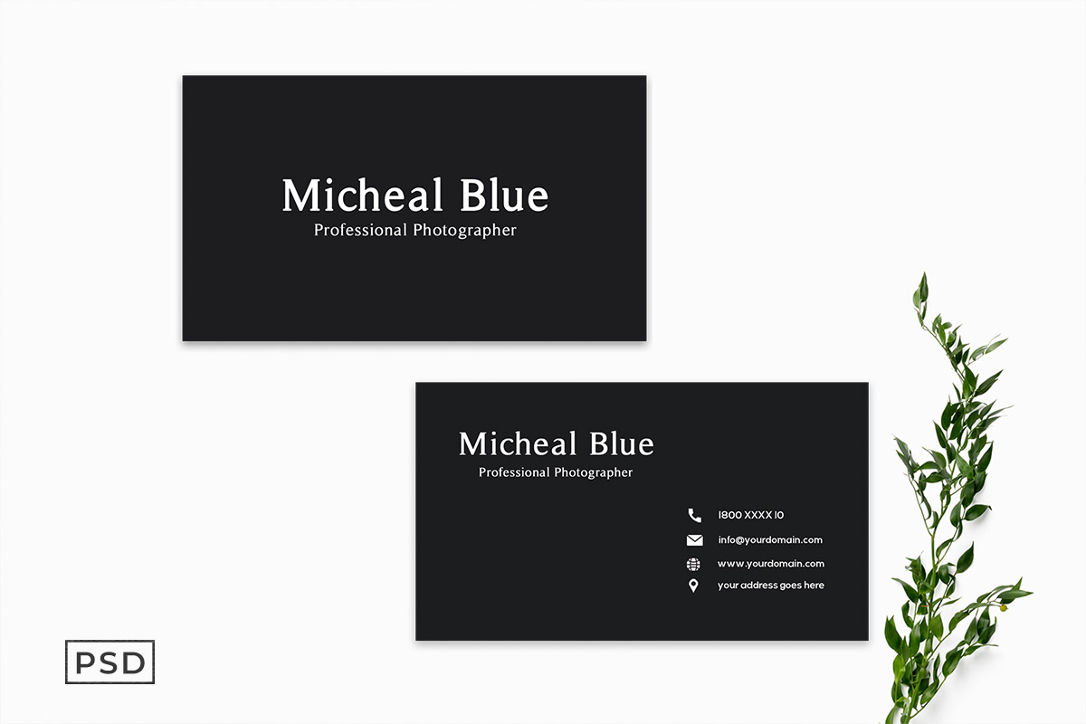 Free Black Sober Business Card Template