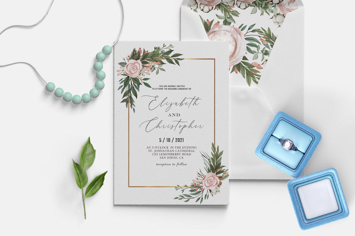 Free Blush Green Wedding Invitation Template