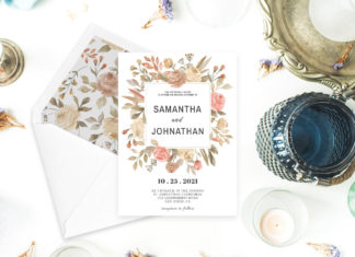 Free Dusty Rose Wedding Invitation Template