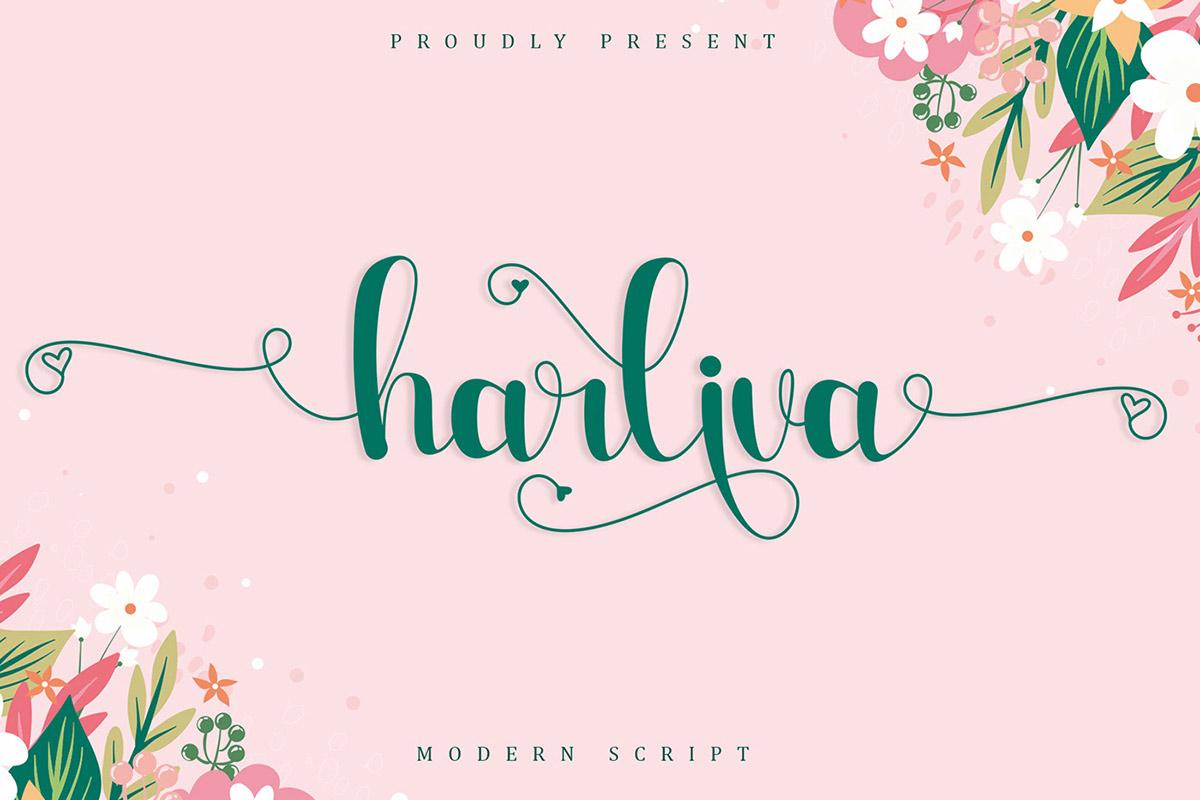 Free Harliva Calligraphy Font
