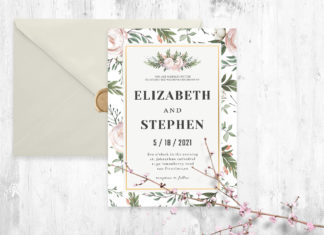 Free Rustic Floral Wedding Invitation Template