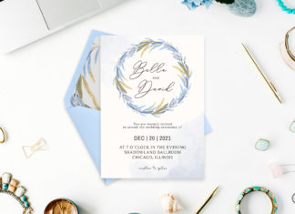 Free Blue Floral Watercolor Wedding Invitation