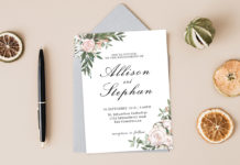 Free Dusty Rose Floral Wedding Invitation Template V2