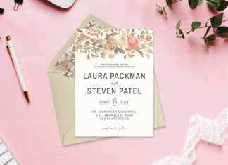 Free Dusty Rose Wedding Invitation Template V2