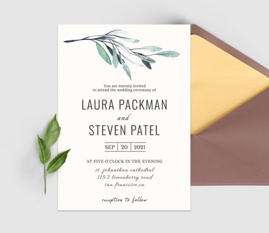 Green Leaves Wedding Invitation Template