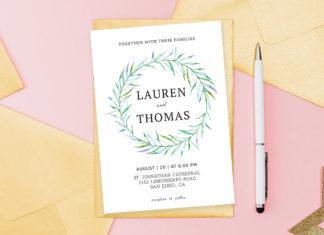 Free Simple Floral Wedding Invitation Template