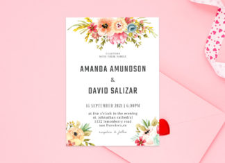 Free Watercolor Floral Wedding Invitation Template V2