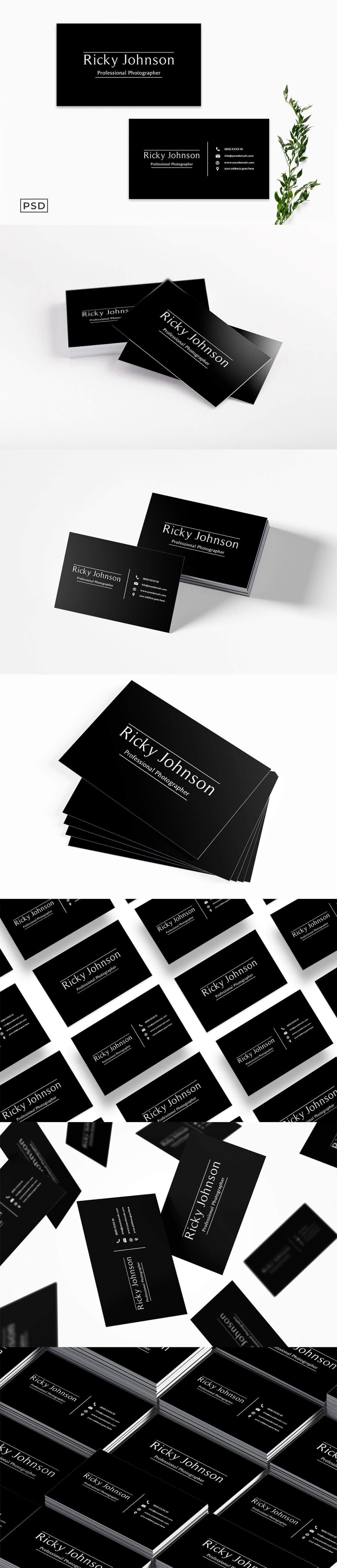 Free Black Minimal Business Card Template