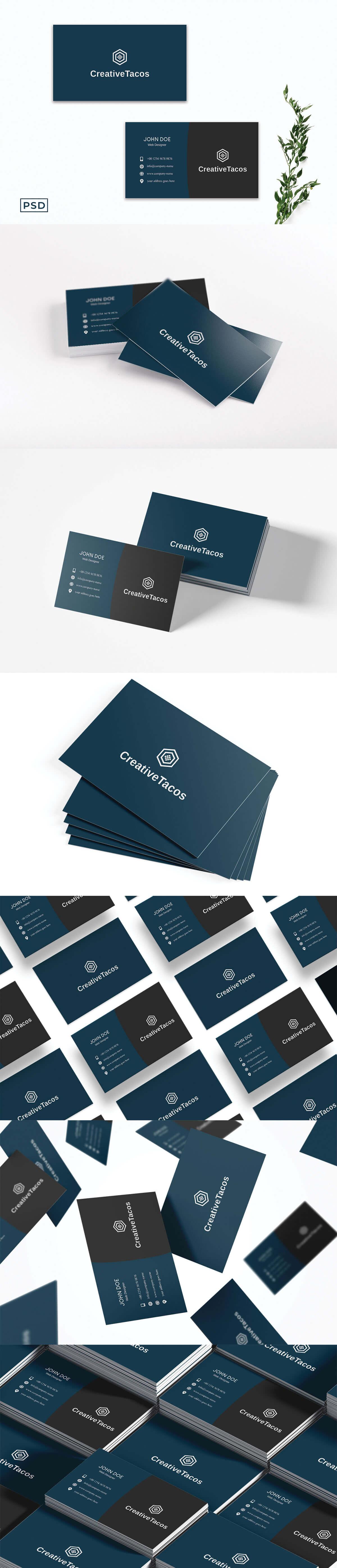 Free Blue & Grey Creative Business Card Template