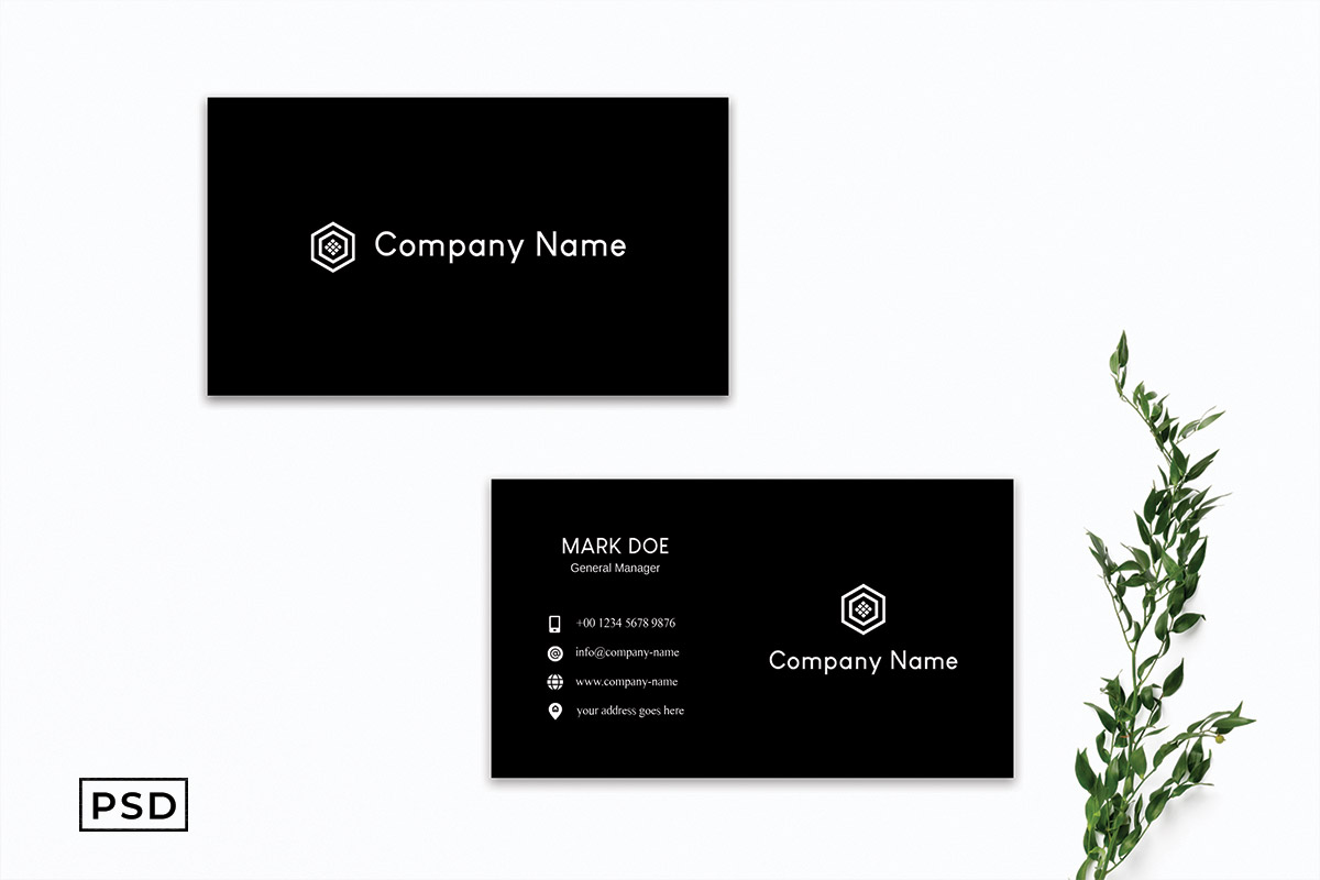 Free Dark Black Business Card Template