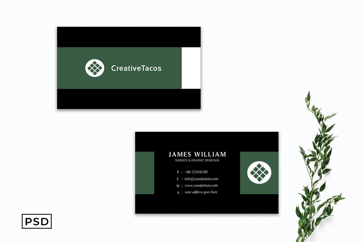 Free Dark Green Minimal Business Card Template