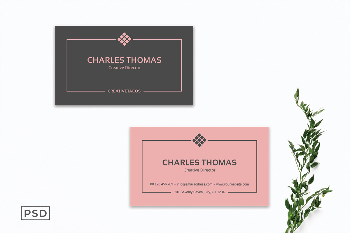 Free Light Red Minimal Business Card Template