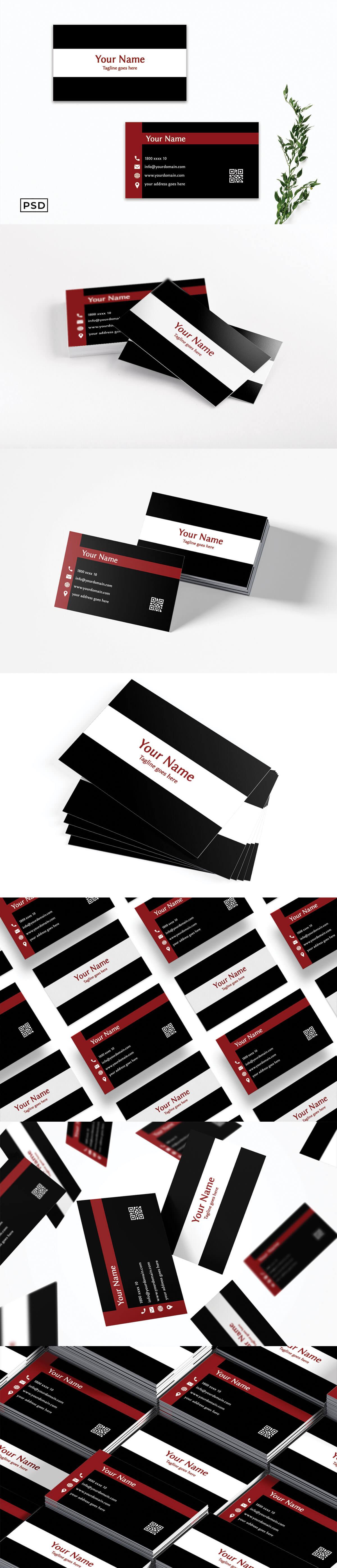 Free Modern Black Minimalist Business Card Template