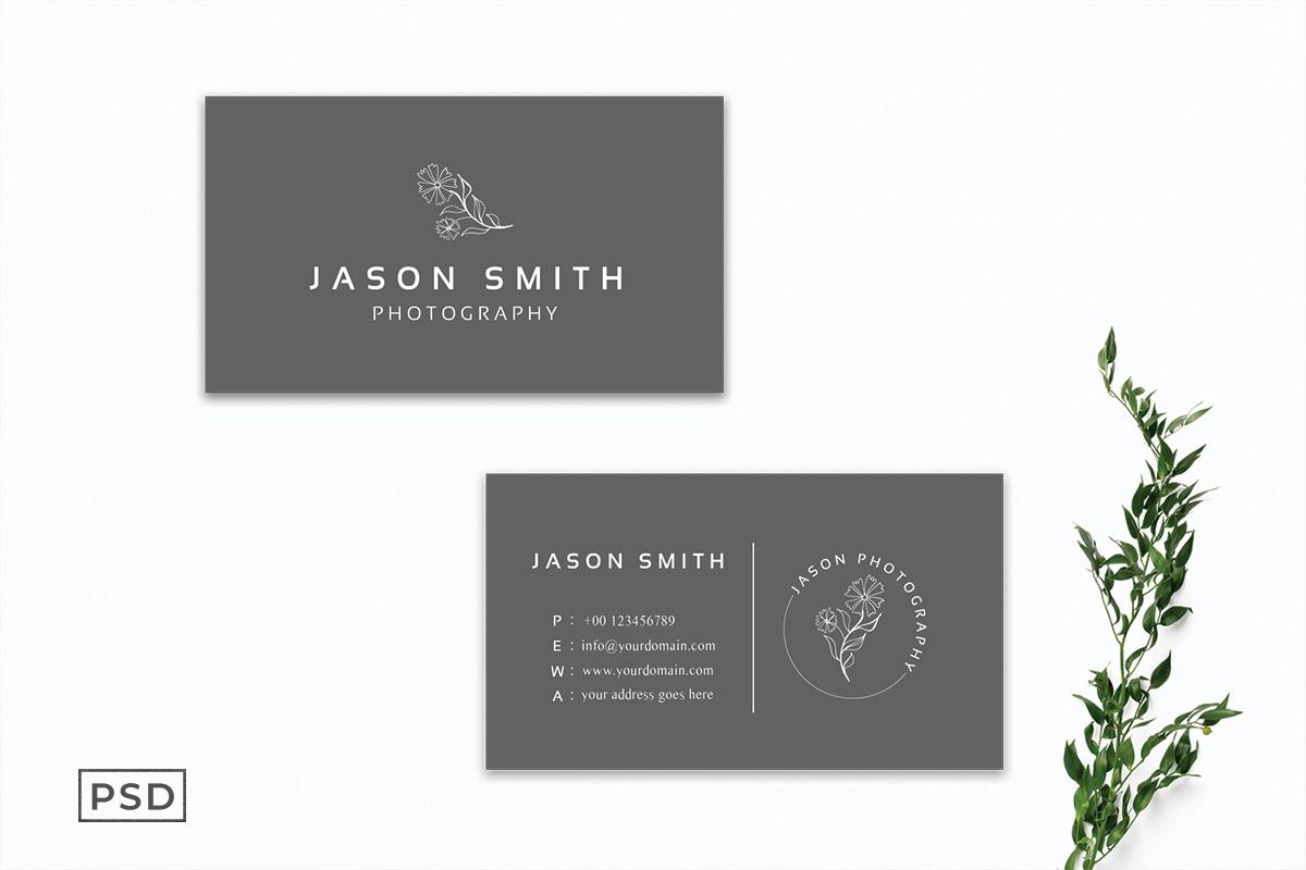 Free Sober Grey Minimal Business Card Template