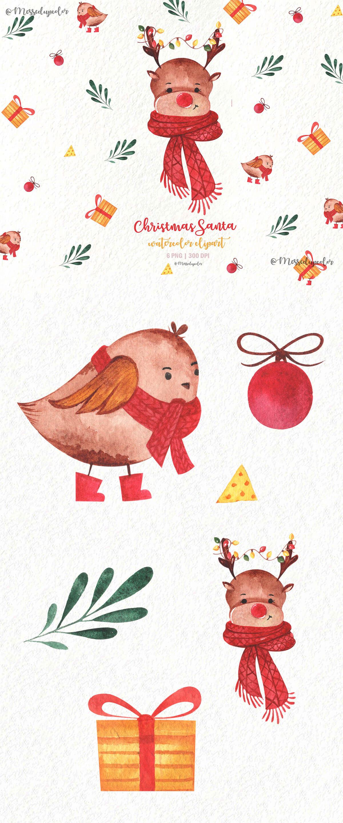 Free Christmas Santa Watercolor Clipart