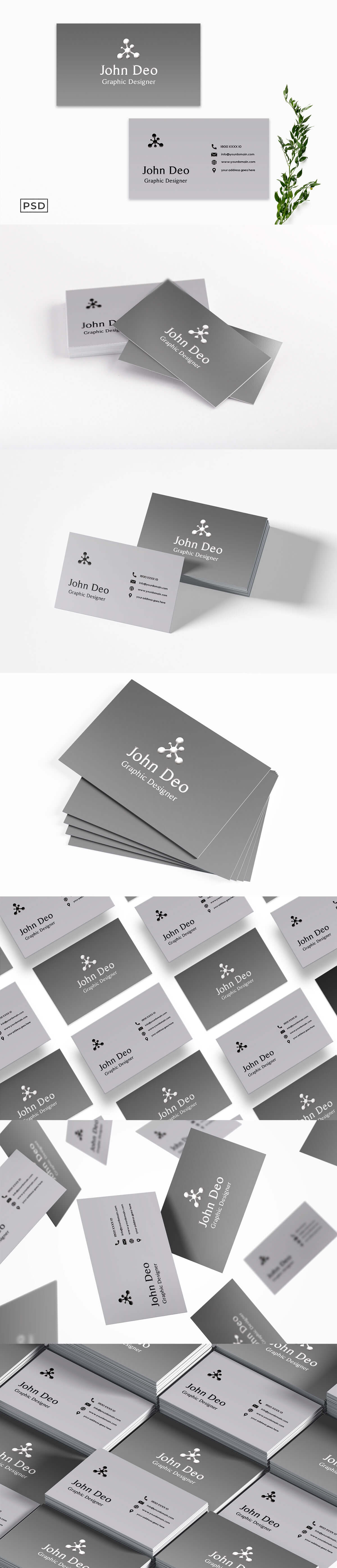 Free Minimal Gray Business Card Template