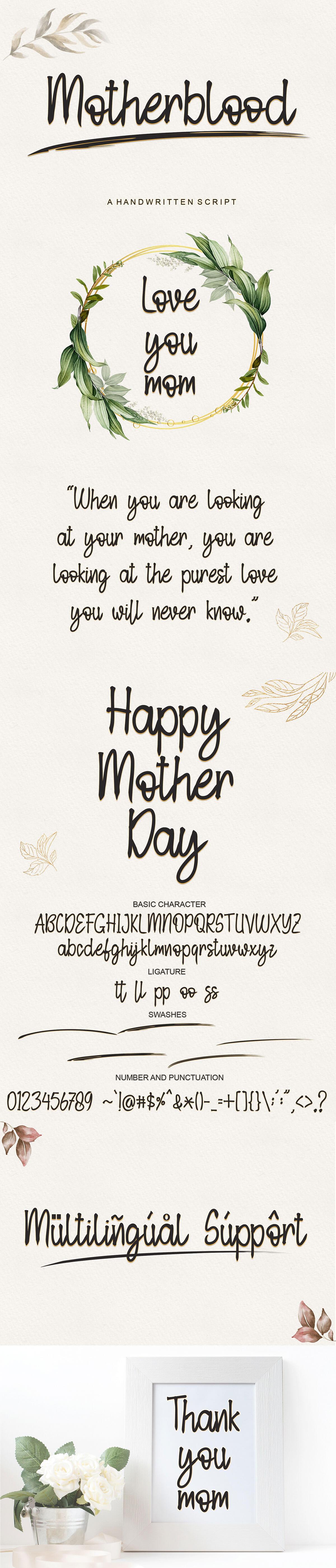 Free Motherblood Handwritten Script Font