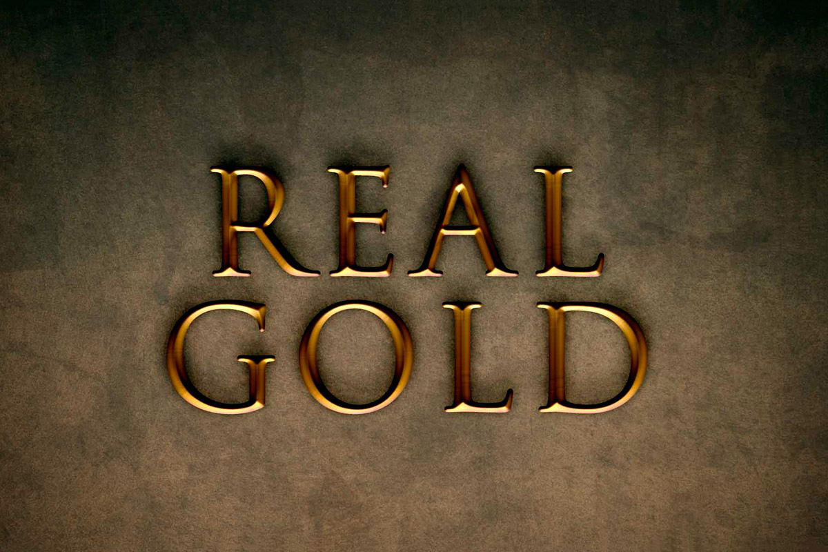 Free Real Gold Effect Mockup