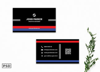 Free Blue & Red Minimal Business Card Template