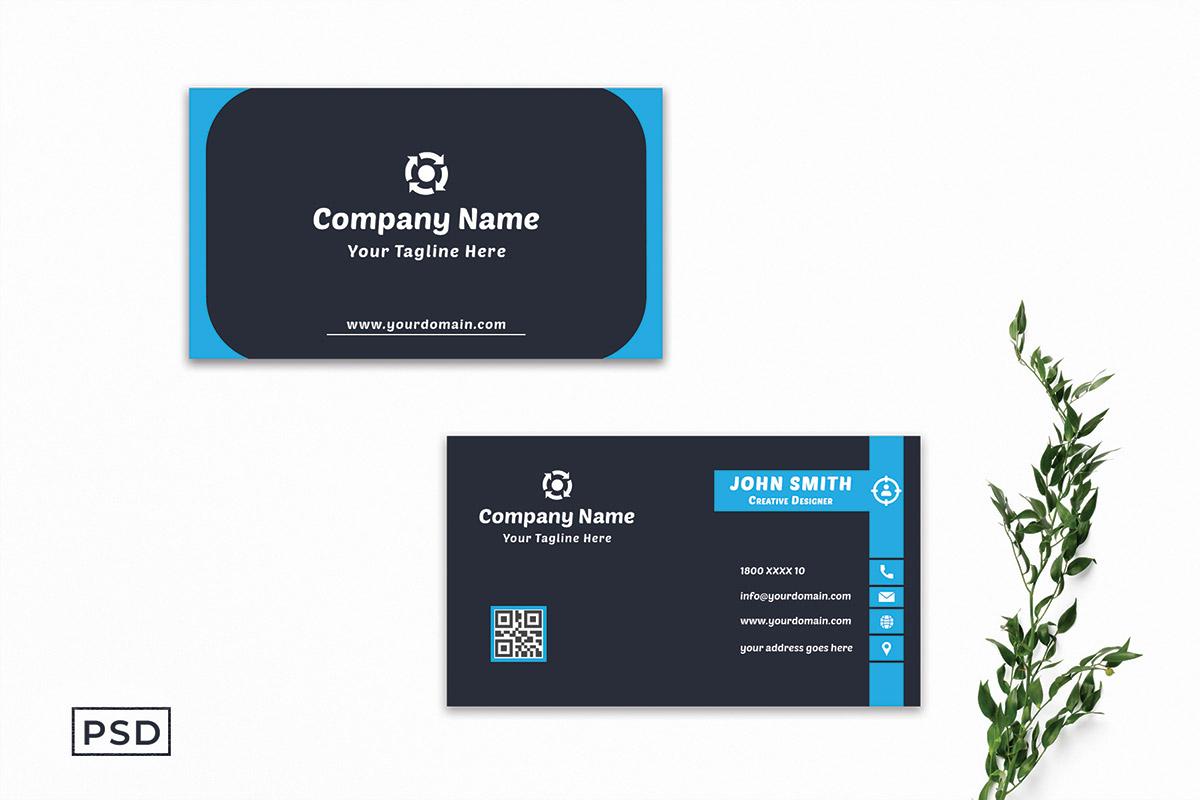 Free Modern Blue Business Card Template V2