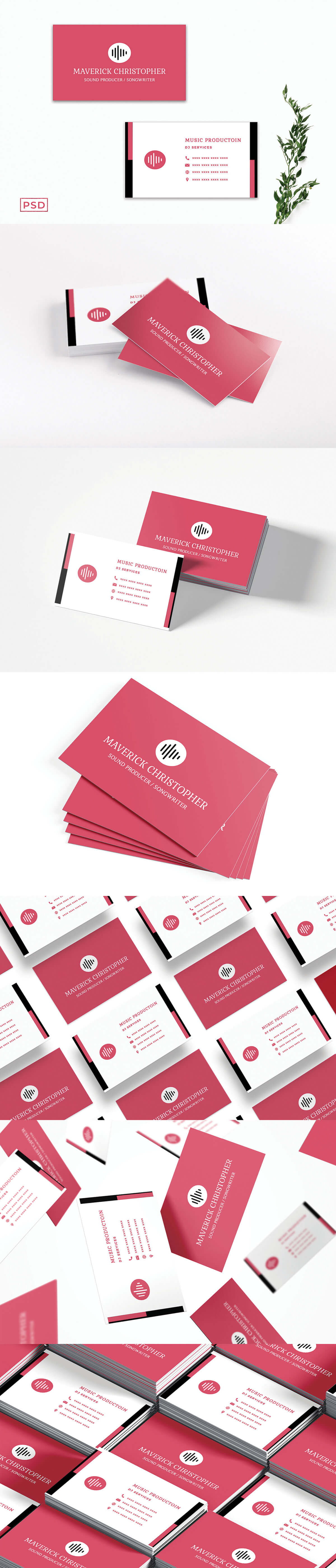 Free Red Sober Business Card Template V2
