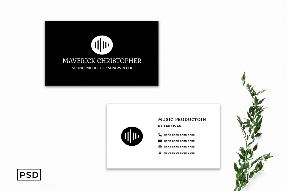 Free Simple Black Business Card Template V4