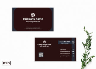 Free Sober Red Modern Business Card Template