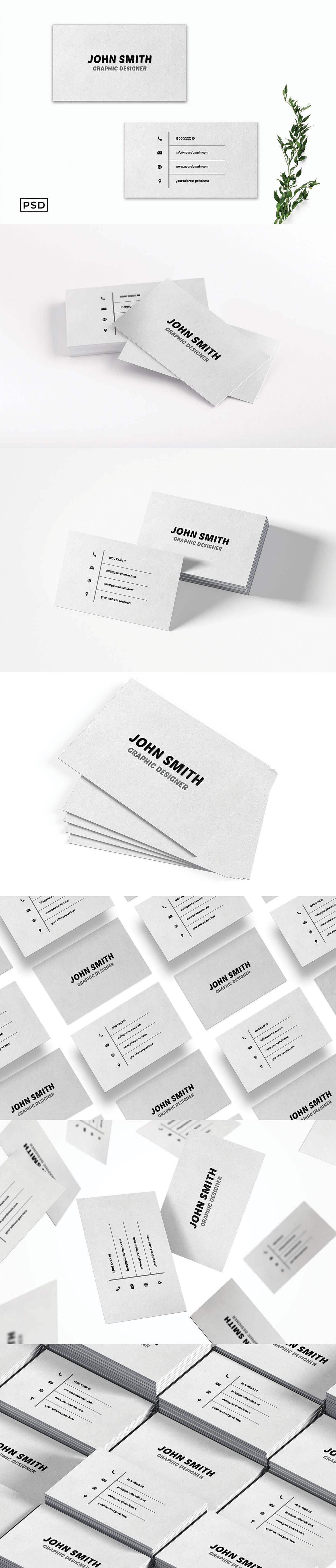 Free White Minimal Creative Business Card Template