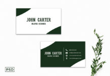 Free White and Green Business Card Template