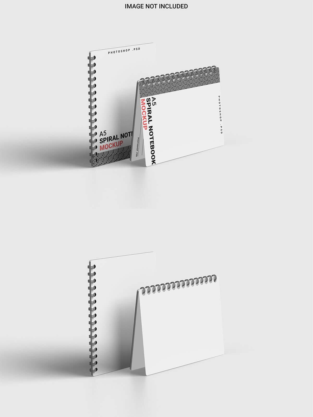Free Spiral A5 Notebook Mockup