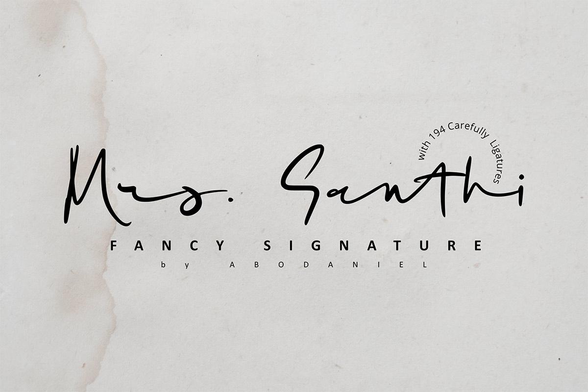 Free Mrs Santhi Signature Font