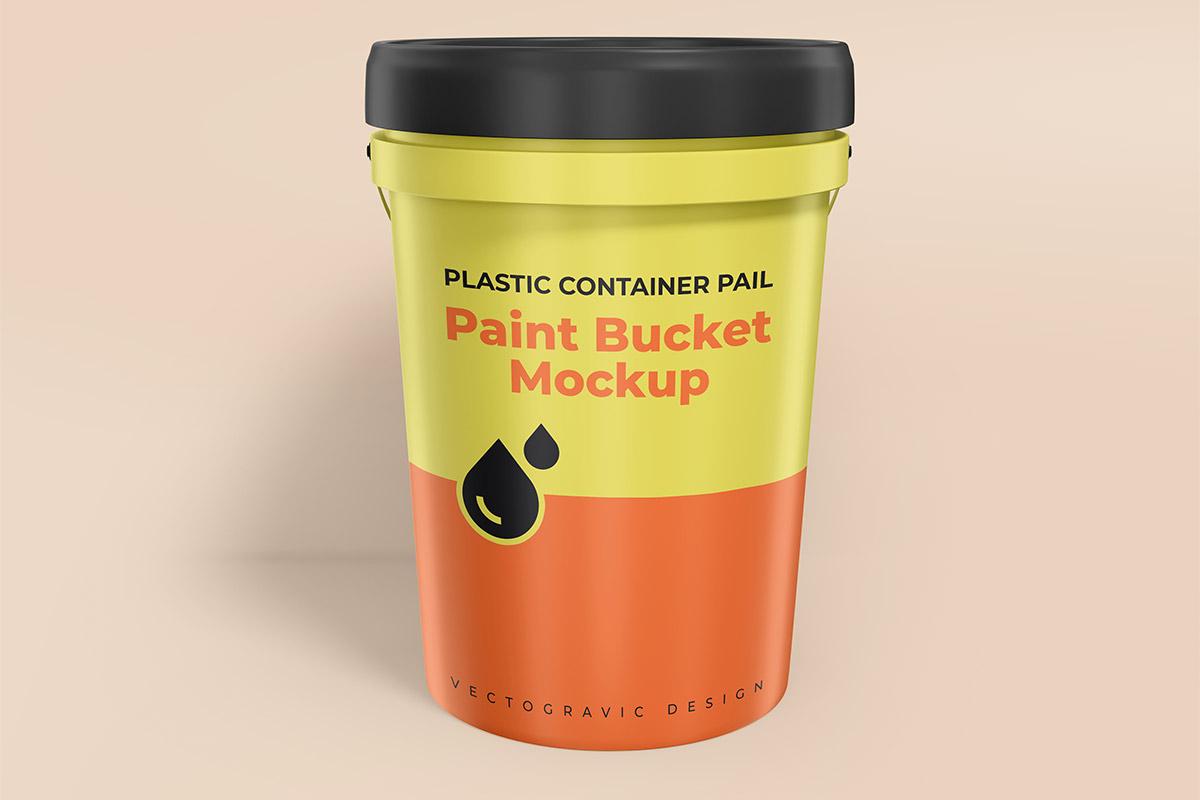 Free Plastic Container Gallon Paint Pail Mockup