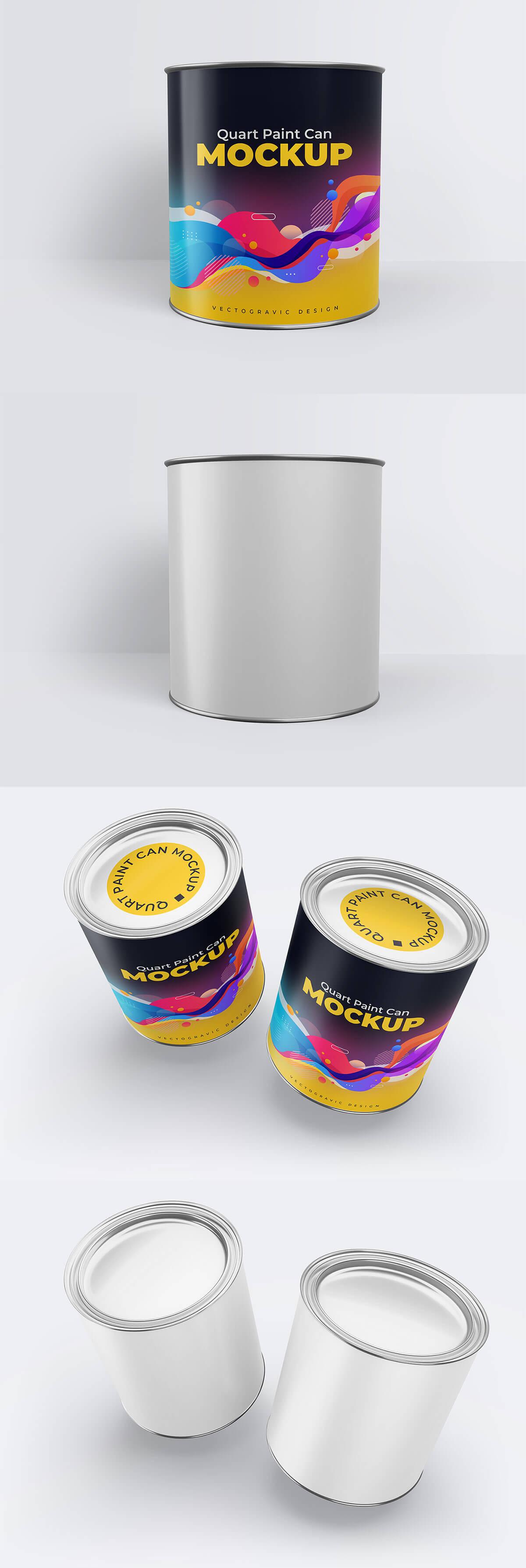 Quart Paint Can Mockup