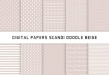 Scandi Doodle Beige Digital Papers Hand Drawn Patterns